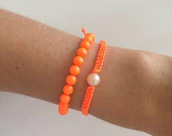 Bright orange pearl bracelet set!