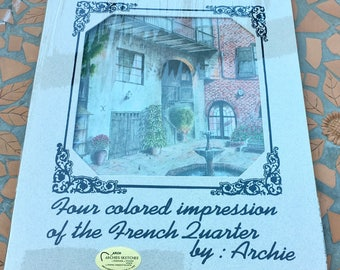 Archie Boyd Four Colored Impressions Of The French Quarter New Orleans St Louis Cathedral Brulator Court Royal Street Natchez Steamboat