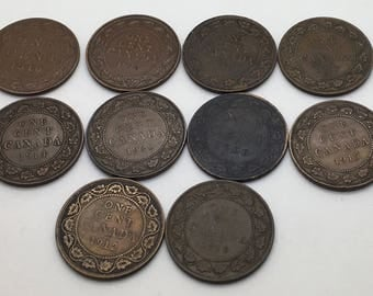 Canada Large Cents  Lot of 10 1906 1910 1912 1914 1915 1916 1917 1918 1919 1920  King Edward King George V Large Cent Starter Collection