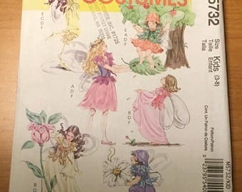 McCall's M5732 Sewing Pattern  Kids Girls Fairy Pixie Fantasy Birthday Halloween  Cosplay Pull On Dresses Jumpsuit Vest Wings 3 4 5 6 7 8