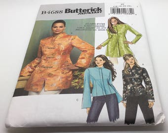 Butterick  4688 Asian Petite Jacket Pattern Unlined Jacket Princess Seams Raised Collar Snap Frog Closure Contrast Sleeve Uncut 16 18 20 22