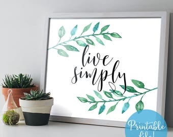 Live Simply Printable Art, Horizontal Typography Minimalist Quote Wall Art, 8x10 Home Decor, Instant Download