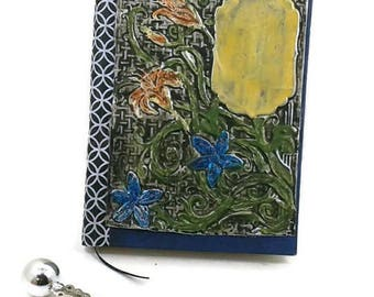 Garden Lily Metal Journal, Distressed Metal Journal -built in Bookmark-Lined pages,Diary/Notebook, gift for writers, floral journal, ferns