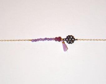 Gold-plated bracelet, faceted micro Amethyst, gun silver flower, lavander tassel