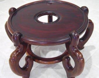 "Vintage Large 15.5"" Round 5 Leg CHINESE ROSEWOOD Fish Bowl STAND Vase Pedestal Base 11""H *Pick Up Only*"