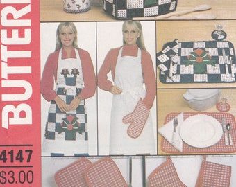FREE US SHIP Butterick 4147 Vintage Retro 1980s 80s Kitchen appliance Covers Sewing Pattern Quilt Block Apron Placemats Potholder Oven Mitt