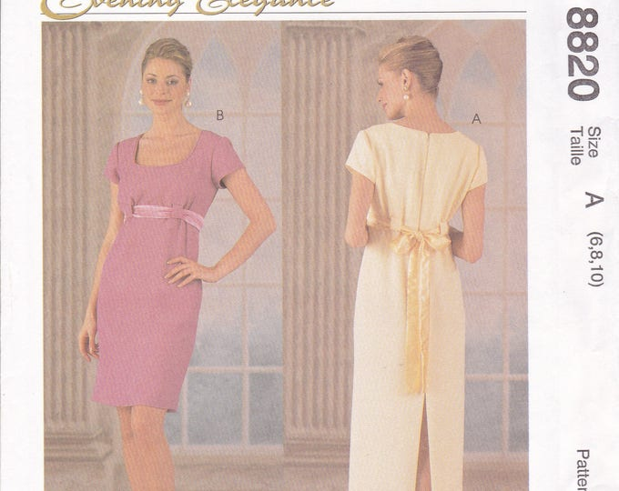 Free Us Ship McCall's 8820 Evening Elegance Formal Dress Cocktail Pull Thru Ribbon Size 6 8 10 12 New Prom Mother of Bride Uncut