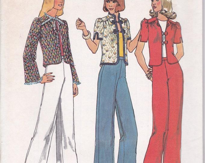 FREE US SHIP Simplicity 6877 Vintage Retro 1970's 70's Sewing Pattern Size 16 Bust 38 Uncut Pantsuit High Waist Jacket Pants Wide leg ff