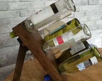 Reclaimed oak 6 bottle wine holder.