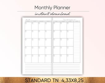 Printable Planner, Monthly Planner, Monthly Planner 2018, Planner 2018, To Do List Midori Insert Shopping List Planner Inserts Notebook MO2P