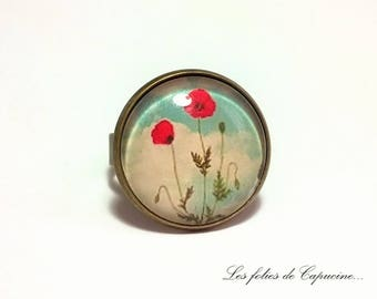 •COQUELICOT PARAPLUIE• under glass cabochon ring