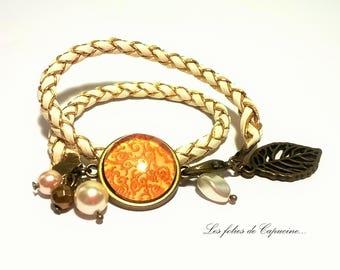 Cabochon •ARABESQUE • leatherette braided cord bracelet