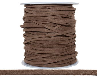28-30 FT 1.5x3 mm Flux Suede Saddle Brown Color Flat Cord (SUE100125)
