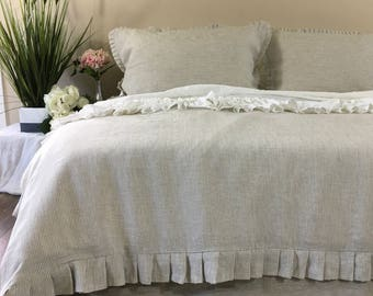 Linen Ticking Striped Duvet Cover with Pleated Ruffles all the way around, simple and subtly enthralling design!