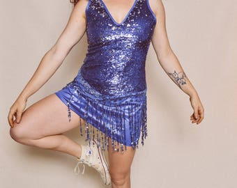 90s vintage dreamgirl blue sequins sparkly fringe mini dress dance outfit costume