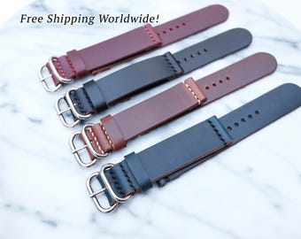 Horween Leather Watch Strap in 18mm/20mm/ 22mm/ 24mm