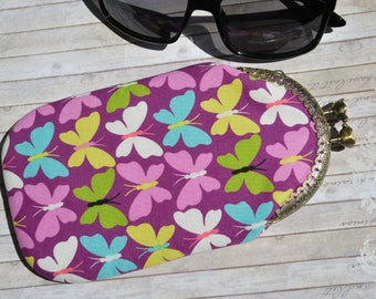 Sunglasses Case, Glasses case, Cotton Glasses Pouch, Spectacles Case butterflies print, Glasses case with Kiss lock clasp, Ready to ship