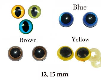 12 mm, 15 mm Safety Eyes - Safety Eyes Blue, Brown, Yellow, Green with Round and Slit Pupil (One Pair)