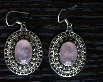ON SALE Fascinating ROSE Quartz Silver Earrings