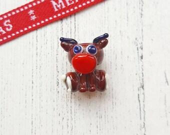 Reindeer Bead - Lampwork Reindeer - Reindeer - Glass Beads - Lampwork Glass - Glass Reindeer - Rudolf - Christmas Beads - Festive - Kawaii