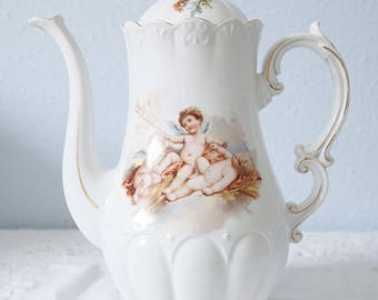 Lovely Vintage Brussels Porcelain Coffeepot, Cherub Decor