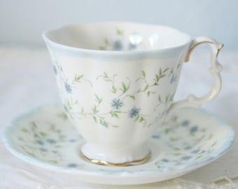 Vintage Royal Albert Bone China 'Caroline' Lady Size Cup and Saucer, Blue Flower Decor, England