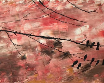 """Abstract Birds On Tree In Oil """"12X24"""" Gallery Wrapped Canvas 