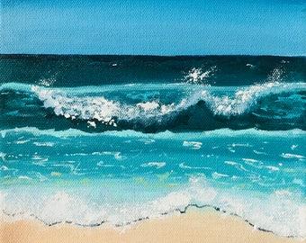 "Beach With Blue Sky, Sand & Waves Painted In Acrylic ""8X8"" Gallery Wrapped Canvas | Ocean | Seascape | Coastal | Summer | Beach Decor | Wave"