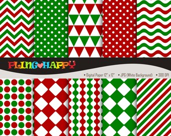 70% OFF Red And Green Digital Papers, Chevron/Polka Dot/Wave/Stripe Pattern Graphics, Personal & Small Commercial Use, Instant Download