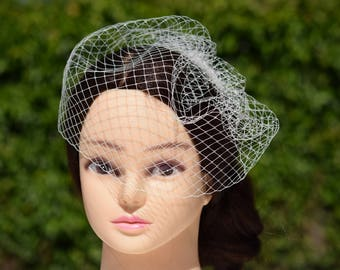 Birdcage Veil, Wedding Veil, Vintage Style Veil, Bridal Veil, Wedding Headpiece, Wedding Fascinator, Blusher veil, Ivory Birdcage Veil