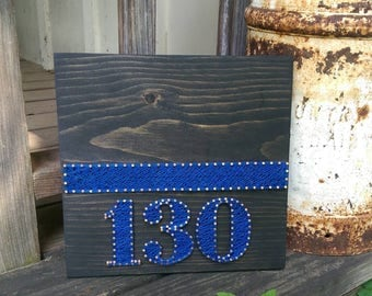 Thin Blue Line String Art with Badge Number
