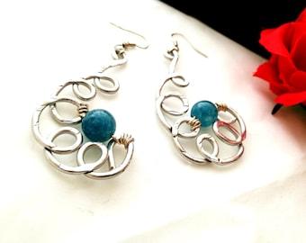 Earrings aluminum hammered blue blue stone for her gift