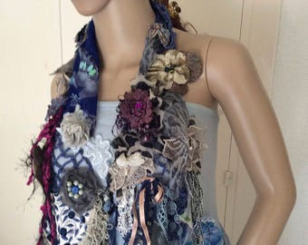 Poetry in blues,antiques laces and velvet , silks and beads ,sophisticated and unique
