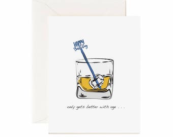 "Whiskey & Birthday Stir Stick ""Only Gets Better With Age"" Birthday Greeting Card"