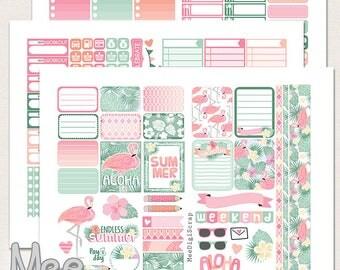 Summer planner stickers printable weekly kit for Erin Condren life planner vertical Planner printable sticker set Tropical summer Flamingo