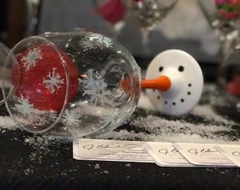 Drunken Snowman wine glass