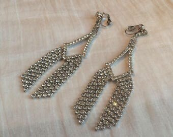Unsigned glamorous rhinestone clip drop earrings - stunning