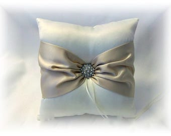 Ivory and Champagne  Wedding Ring Pillow, Ivory Ring Pillow, Champagne Ring Pillow, Light Tan Ring Pillow