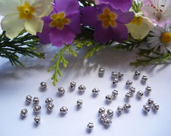 50 spacer beads Tibetan antique silver