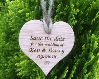 Save The Date Oak Hearts.