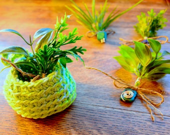 Simple to Care for: Fake Tillandsia + Air Plants | Cute Lil' Fake Plants | Wire Wrapped | Hemp Bow | Made With Love | Adorable Fake Plants