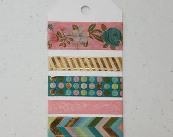 Washi tape samples, 5 different designs on a tag, free shipping.