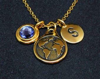 Gold World map - Earth necklace, swarovski birthstone, initial necklace, birthstone necklace