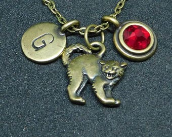 Bronze Scary cat necklace, swarovski birthstone, initial necklace, birthstone necklace