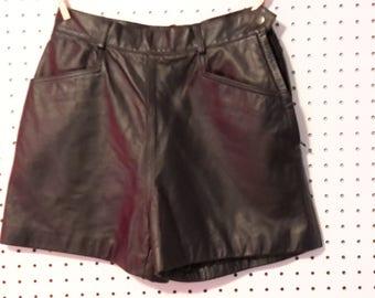 Wilson's  Black leather Side Zip Shorts