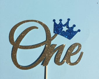 One cake topper with crown, first birthday, prince party decor, glitter cake topper with crown