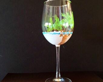 Hand-painted wineglasses, white sand, palm trees, summer theme design, beach lover, ocean lover gift, birthday, anniversary gift, wine lover