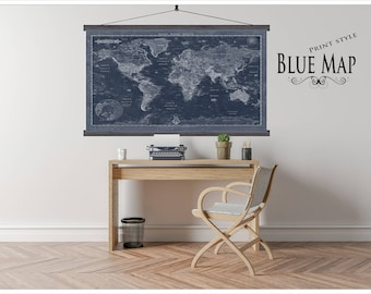 Most Detailed Large World Map.  Huge Map of the World. Up to 6xft x 10ft map.  Large World Travel Map.  BWM32