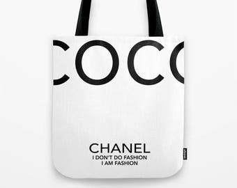 Tote Bag, Fashion Print, Chanel, coco Chanel Bag, coco Chanel print, coco Chanel Quote, Gift For Her, Designer Bag, Chanel Handbag