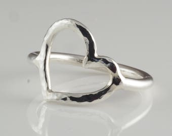 Heart Shaped Argentium Sterling Silver Ring